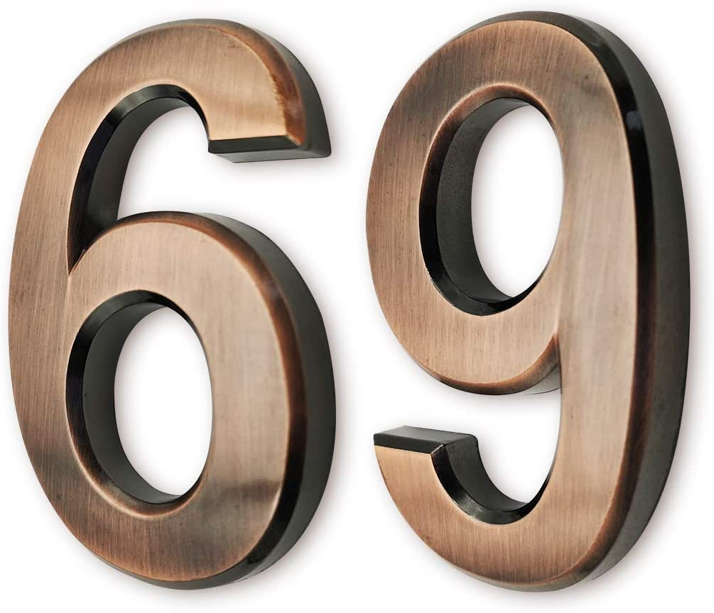 """3 inch Mailbox Numbers 6/9, House Door Address Number Stickers for Apartments/Hotel/Office Home Room, Double 6, Dark Bronze, Antique Style, by FANXUS. (3"""" Double 6/9, Bronze)"""