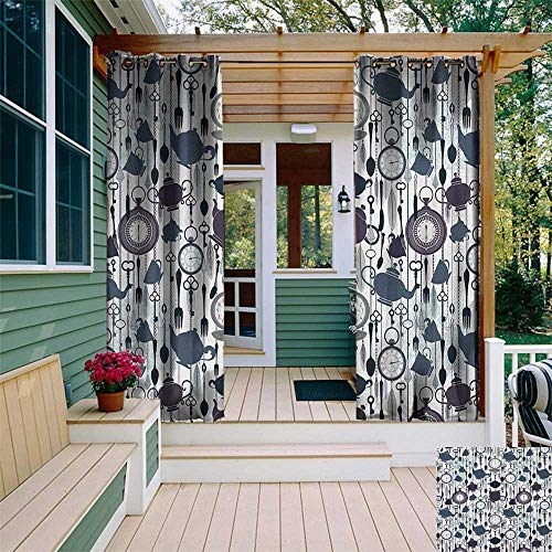 (Tea Party, Porch Curtains Outdoor Waterproof , Antique Crockery Elements Clocks Feathers English Victorian Tradition, Outdoor Curtain panels for Patio Waterproof W72 x L96 Inch Slate Blue Plum Black)