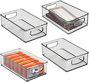 """mDesign Stackable Plastic Home Office Storage Organizer Container with Handles for Cabinets, Drawers, Desks, Workspace - BPA Free - for Pencils, Highlighters, Notebooks - 6"""" Wide, 4 Pack - Smoke Gray"""
