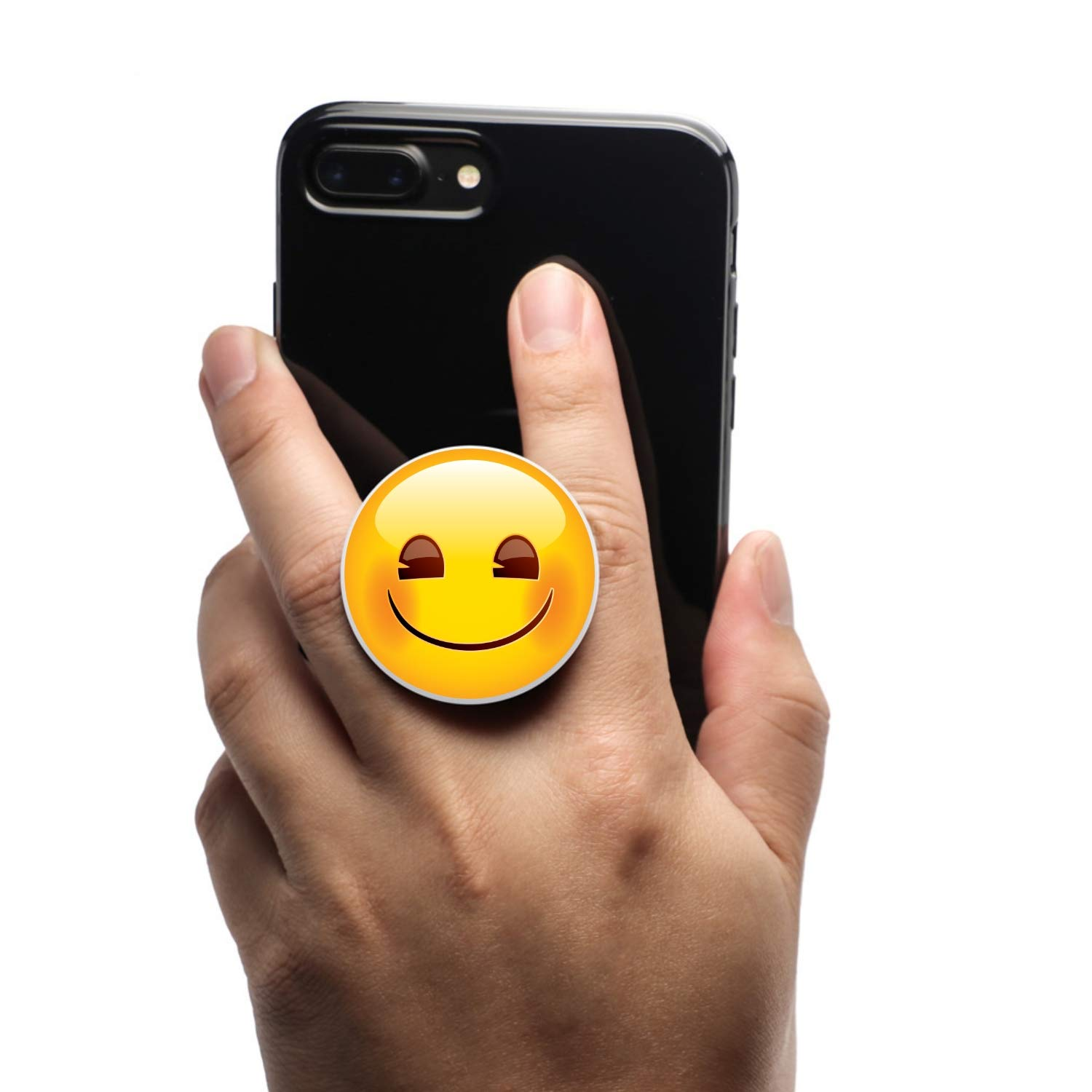 Coolgrips All in one Magnetic Collapsible Cell Phone Grip Mount and Stand for Smartphones and Tablets Emoji Smiley
