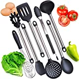8 Pieces Super Sturdy Cooking Utensils Set With Non Stick Silicone Tips For Pots and Pans - Serving Tongs, Spoon, Spatula Tools, Slotted Turner, Pasta Server, Ladle, Strainer, Whisk. BPA FREE.
