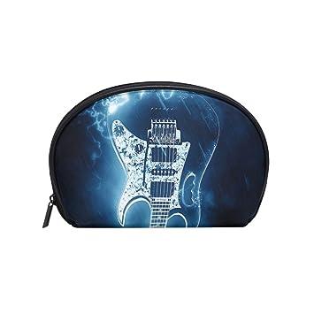 5917de997e5a Amazon.com : Women's Travel Glowing Electric Guitar Print Cosmetic ...
