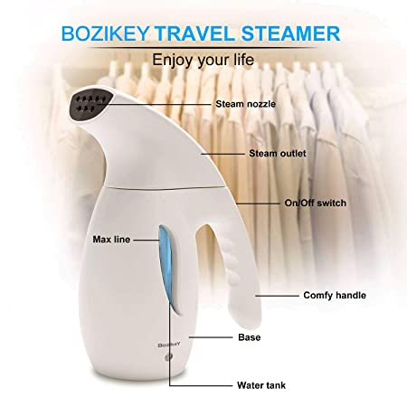 BOZIKEY 180ml Garment Steamer Portable Travel Handheld Steamer Hanging Steamer Iron Household Mini Ironing Machine Wrinkle Remover for Travel and Home