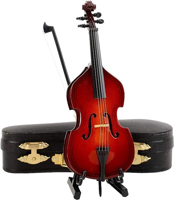Seawoo Miniatura De Madera Con Soporte Y Arco Y Estuche Réplica De Mini Instrumento Musical Coleccionable En Miniatura Para Casa De Muñecas Toys Games Amazon Com
