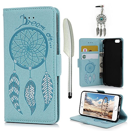 iPhone 6 Case, iPhone 6S Wallet Case, Drawing Wind Chimes Embossed PU Leather Soft TPU Inner Bumper Wrist Strap Card Slots Protective Cover for iPhone 6/6S - Blue]()