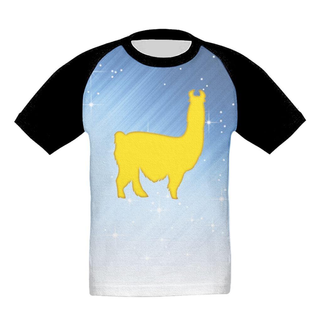 chibaokun Yellow Llama Unisex-Child T Shirt Baby Toddler Tee Round-Neck Short Sleeve Shirt