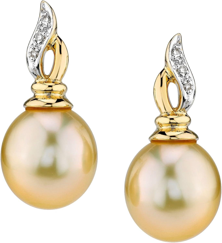 Mar del sur de oro pendientes de perla cultivada de la onda en 14 K oro