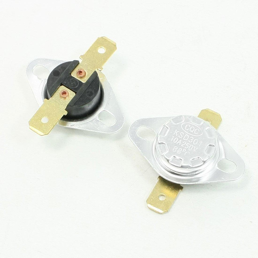 2 Pcs 250V 10A 88 Celsius 190F Temperature Controlled Switch KSD301 Sourcingmap a13070200ux0307