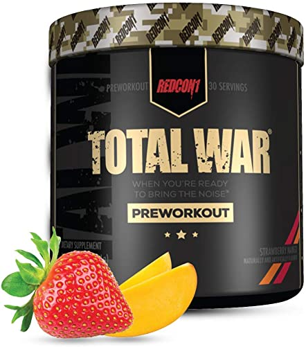 Redcon1 Total War – Pre Workout, 30 Servings, Boost Energy, Increase Endurance and Focus, Beta-Alanine, 350mg Caffeine, Citrulline Malate, Nitric Oxide Booster – Keto Friendly Strawberry Mango