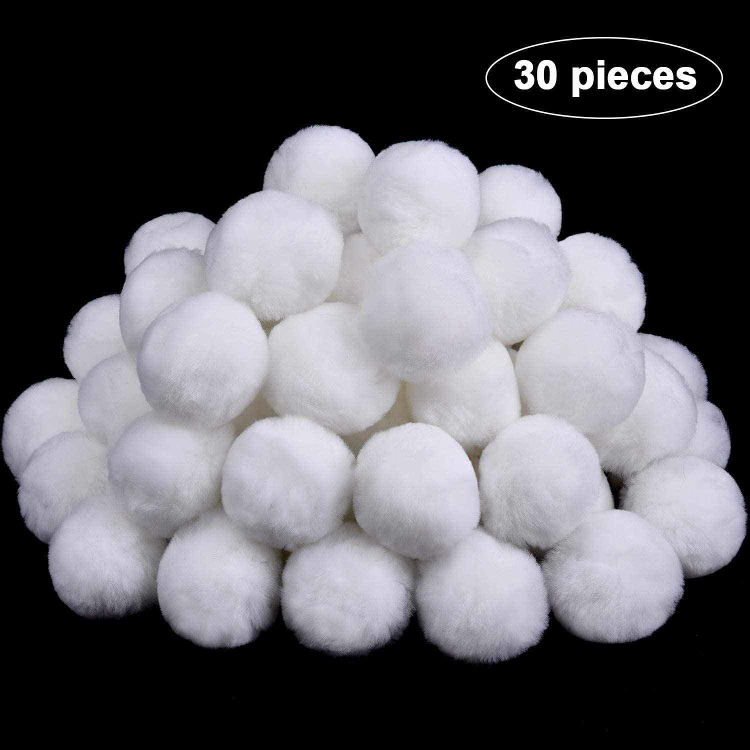 30 Pieces 2 Inch Acrylic Pom Poms Large White Halloween Pom Poms Tinkerbell Costume Accessory for DIY Craft Halloween Costume