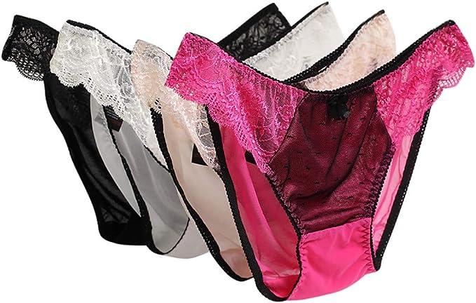 HULKY Pack de 4 Braguitas Encaje Mujer Bragas Encaje Sexy Ropa ...