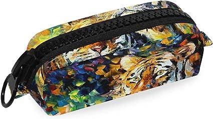 Estuche colorido para lápices de león para pintura al óleo, estuche para lápices de escuela, papelería, bolígrafo, caja con cremallera, bolsa de maquillaje: Amazon.es: Oficina y papelería