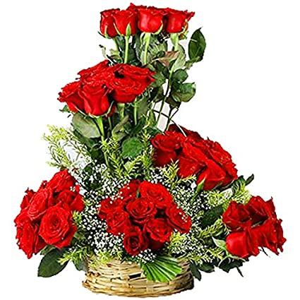 Florazone Beauty In Basket Arrangement Of Red Fresh Flowers Roses