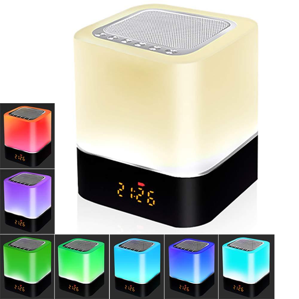 Bluetooth Lautsprecher LED Nachttisch Lampe Touch Sensor Dimmbar, 5 IN 1 Nachtlicht, Wecker Digital, Freisprechen, MP3-Player, Lautsprecher Boxen, Bestes Geschenk UUNY NINTH