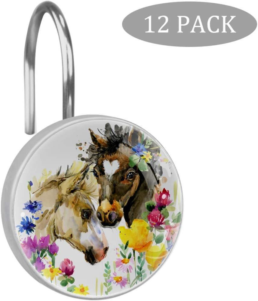 Shiiny - Anillas decorativas para cortina de ducha de acero inoxidable resistente al óxido, diseño de caballo en flores, 12 unidades