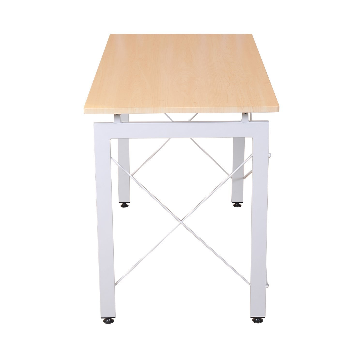 HomCom 48 Sturdy Simple Late Modern Home Office Desk Workstation With Anti-Slip Feet – Natural White