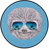 Printing Round Rug,Sloth,Portrait of Sloth with Mirror Sunglasses Exotic Palm Trees Hawaiian Beach Hipster Mat Non-Slip Soft Entrance Mat Door Floor Rug Area Rug For Chair Living Room,Grey Blue Aqua