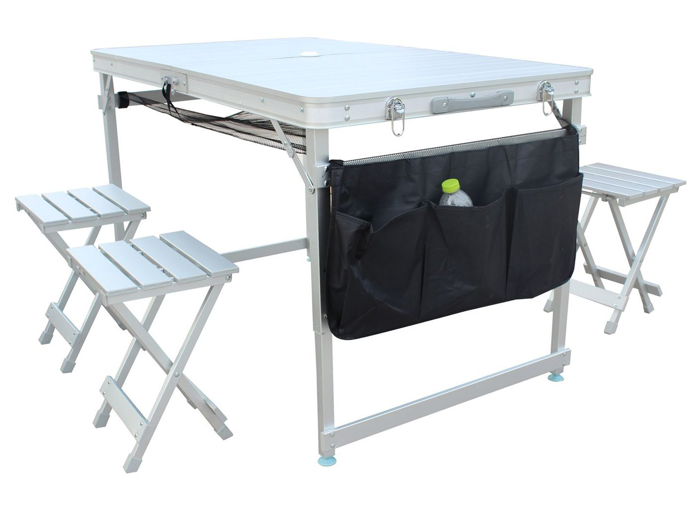 Sports God Pure Aluminum Portable Folding Picnic Table w/ 4 Seats, Storage Net and Carrying Case (Silver, 100% Aluminum)
