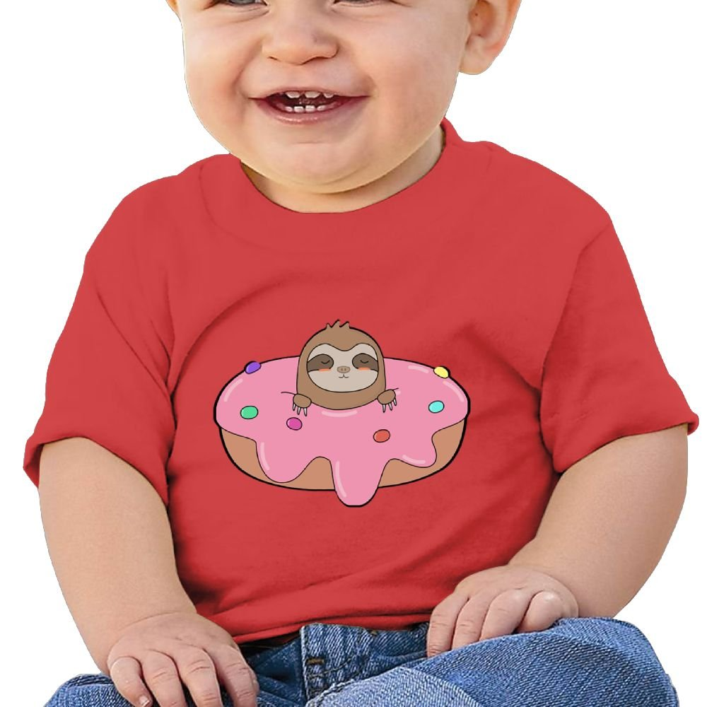 REBELN Sloth in Doughnut Cotton Short Sleeve T Shirts for Baby Toddler Infant