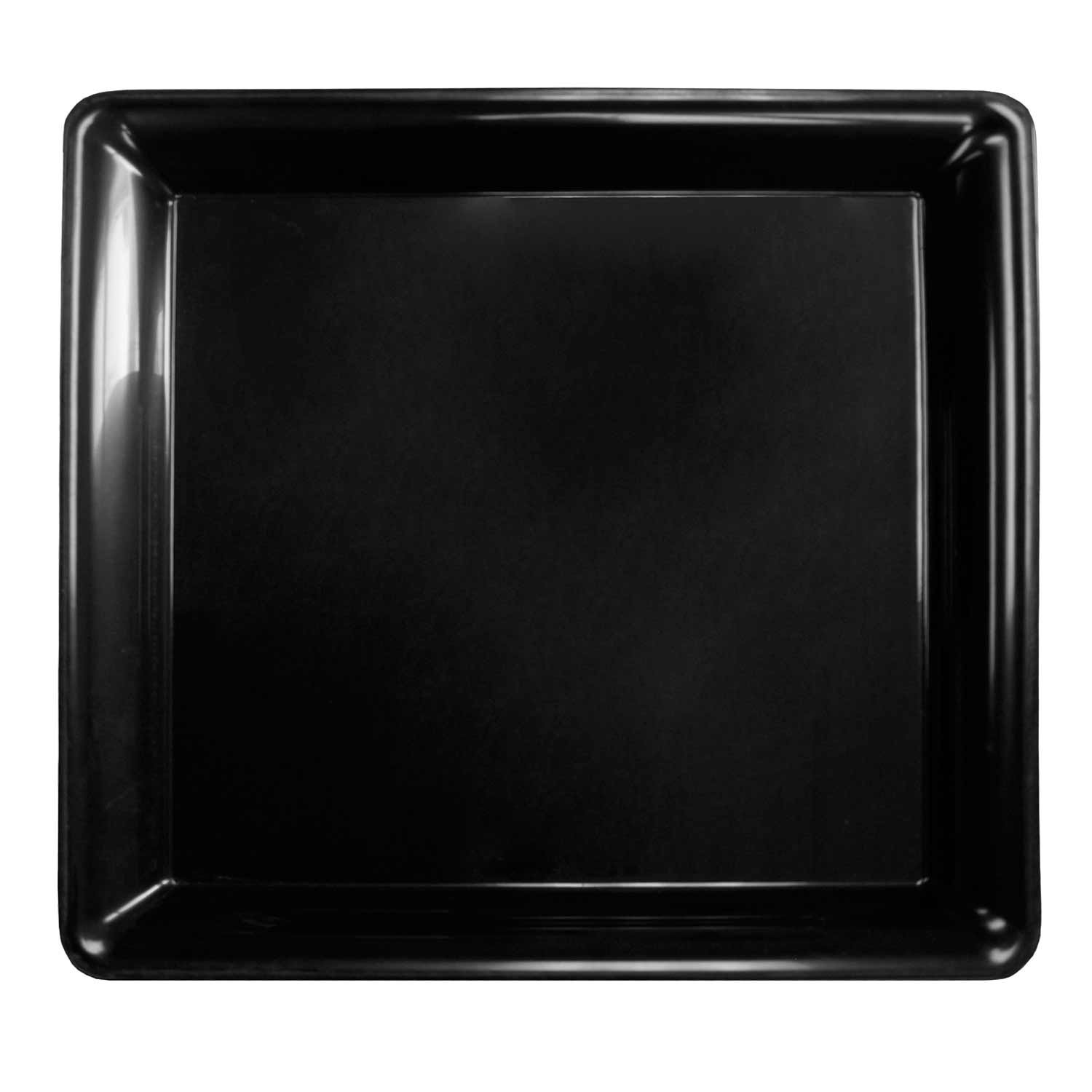 16 Length x 16 Width Case of 6 Black Party Essentials Heavy Duty Plastic Square Tray