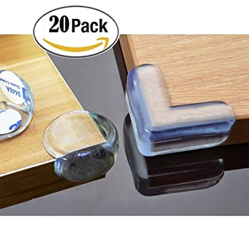 BeRicham 20 Pack Baby Safety Clear Furniture Corner Guards Corner Protector  With Adhesive, L