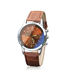 COOKI Mens Watches Luxury Blue Face Leather Band Analog Quartz Watch Men Luminous Business Sport Dress Wristwatch Watches (E)