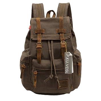 VDSL AUGUR SERIES Vintage Canvas Leather Backpack Hiking