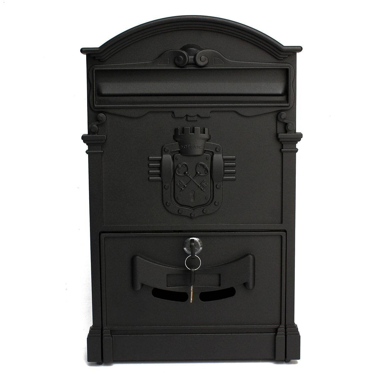 Doitb Mailbox European Style Outside Aluminum Wall Mount Post Box Secure Mailbox Letterbox Outdoor Retro Vintage Mailboxes (Black)