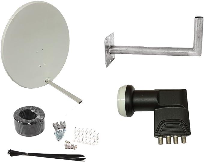 TV Tech Antena parabólica para cielo, freesat, Arabsat, Polsat, Hotbird, Eurosat, Astra 1 y 2 (100 cm)
