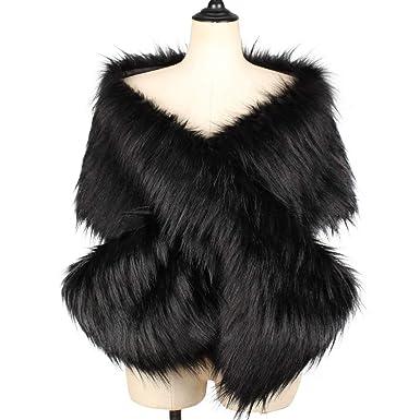 00a1a0f6864 KAMA BRIDAL Women s Faux Fur Shawl Wraps Cloak Coat Sweater Cape Evening  Party Black