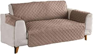 Gerald Furniture Protector slipcovers, Quilted Anti-Slip Couch Cover with Water Resistant Microsuede Fabric-Coffee 167 x 190cm