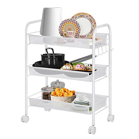 Rolling Cart 3 Tier Storage Cart Utility Cart Wire Rack Metal Mesh Shelving  Trolley,