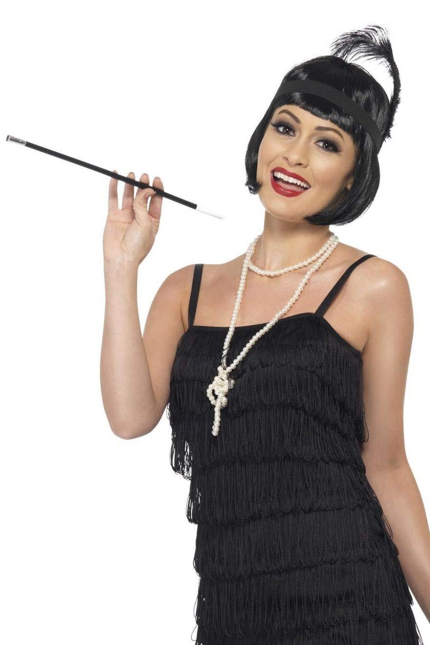 Fancy Dress Four Less Flapper Color Negro Kit de Accesorios Instant/áneos con Peluca Collar Diadema y Soporte para Cigarrillos de 20s//Gatsby//Hepburn//Charleston//Gangster