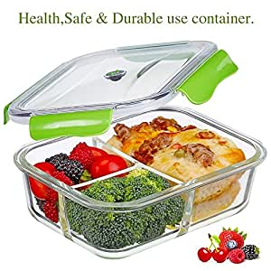 PREMIUM QUALITY Tritan 1050 ML 3 Compartment Glass Lunch box/Food Storage Containers - Meal Prep Glass Containers - Reusable Microwave ,Oven, Freezer & Dishwasher Safe BPA Free Lunch Containers with Smart For Snap Locking Tritan Lid Guarantee 100% Airtight Leakproof (GREEN)