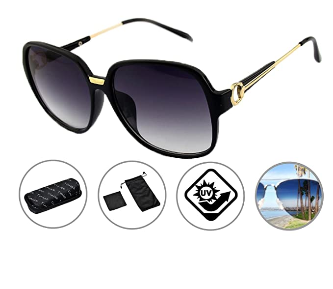 cde9060dc32 Zando Women s Polarized 100% UV Protection Street Fashion Lightweight  Classic Outdoors Sunglasses Black