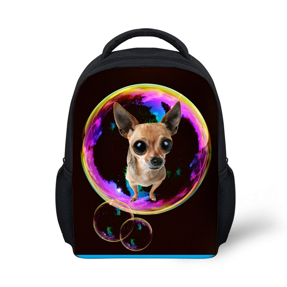 Hoijay Preschool Backpack, Little Kid Backpacks for Boys and Girls Rainbow Bubble Chihuahua Puppy