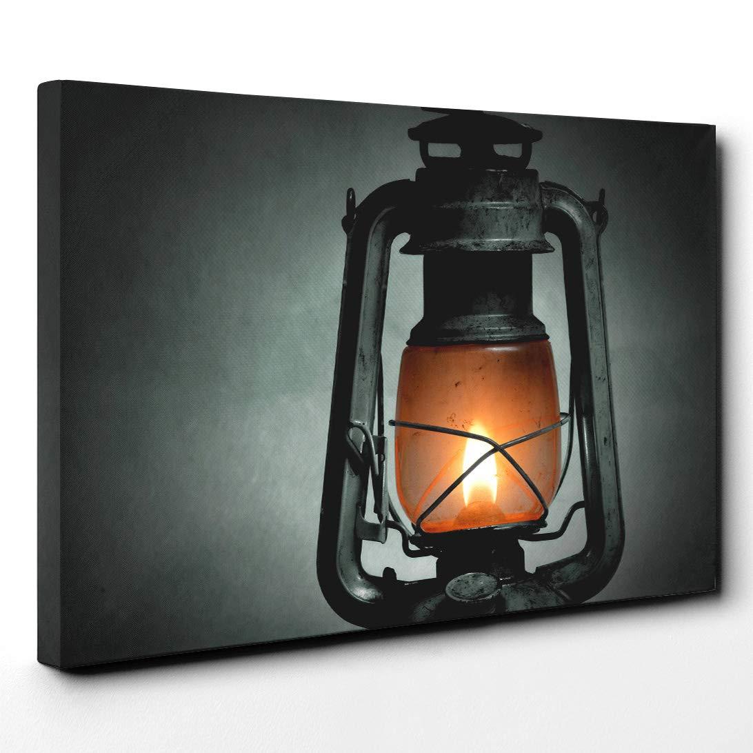 Arty lienzo de pie lámpara de queroseno, madera, multicolor, 101 x ...