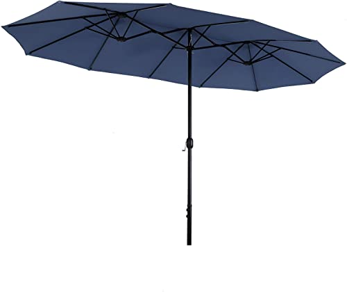 PHIVILLA 13ft Outdoor Patio Table Umbrella, Extra Large Rectangular Double Sided Market Umbrella with Crank Handle, Navy