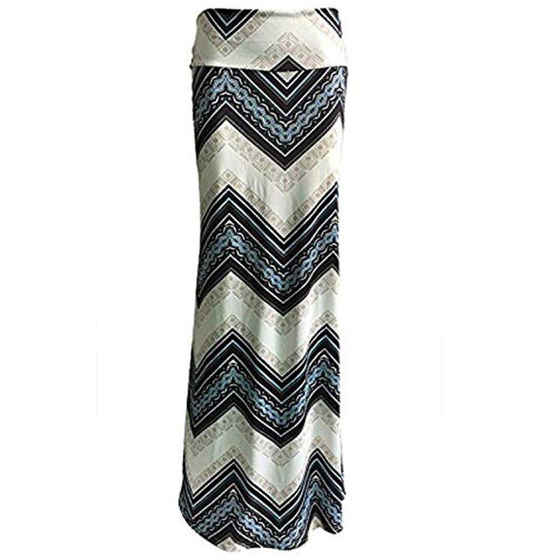 Shilanmei Blue Printed High Waist Maxi Skirt Plus Size Floor-Length Summer Casual Long Skirts for Women (S (US 2))