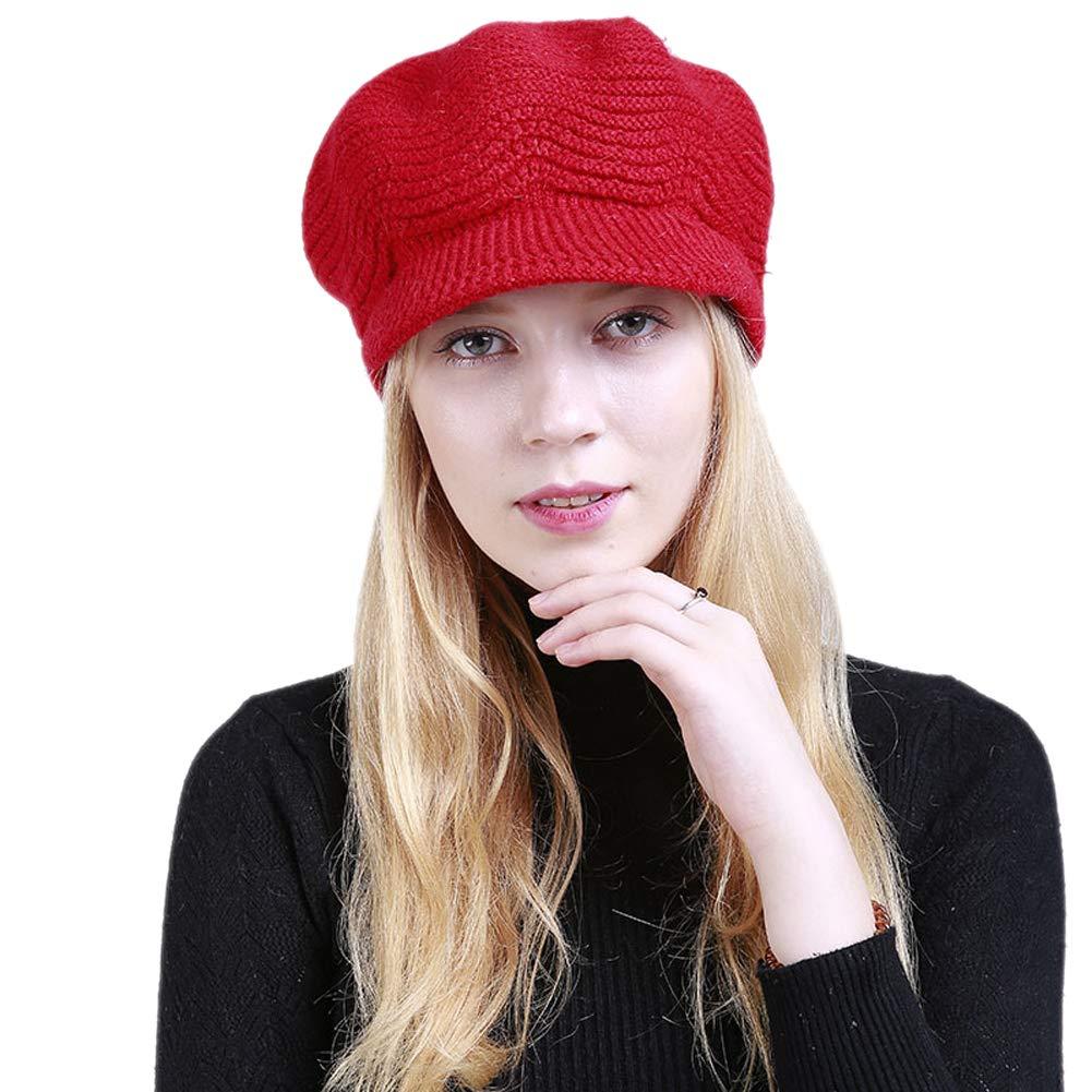 Genda 2Archer Elegant Women Winter Knitted Beret Visor Hats MZ1008