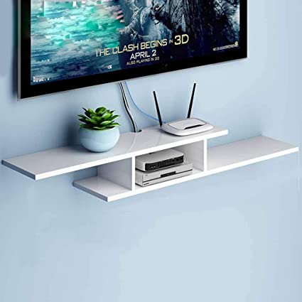 Attirant Floating Shelf For Tv Components, Wooden Wall Mounted Media Console,Storage  Racks, 2
