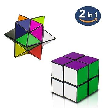 SHONCO 2 en 1 Cubo de Rubik Cubo Rompecabezas Juguete Fidget Dedo Cubo Mágico Speed Cube Transformar Geométrico Puzzle Estrés Ansiedad Alivio de ...