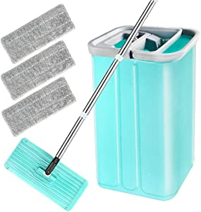 Floor Flat Mop Bucket Set - Flat Squeeze Mop, Home Floor Wizard Cleaning System with Aluminum Handle/2-Washable Microfiber Pads Perfect Home, Kitchen Cleaner for Hardwood