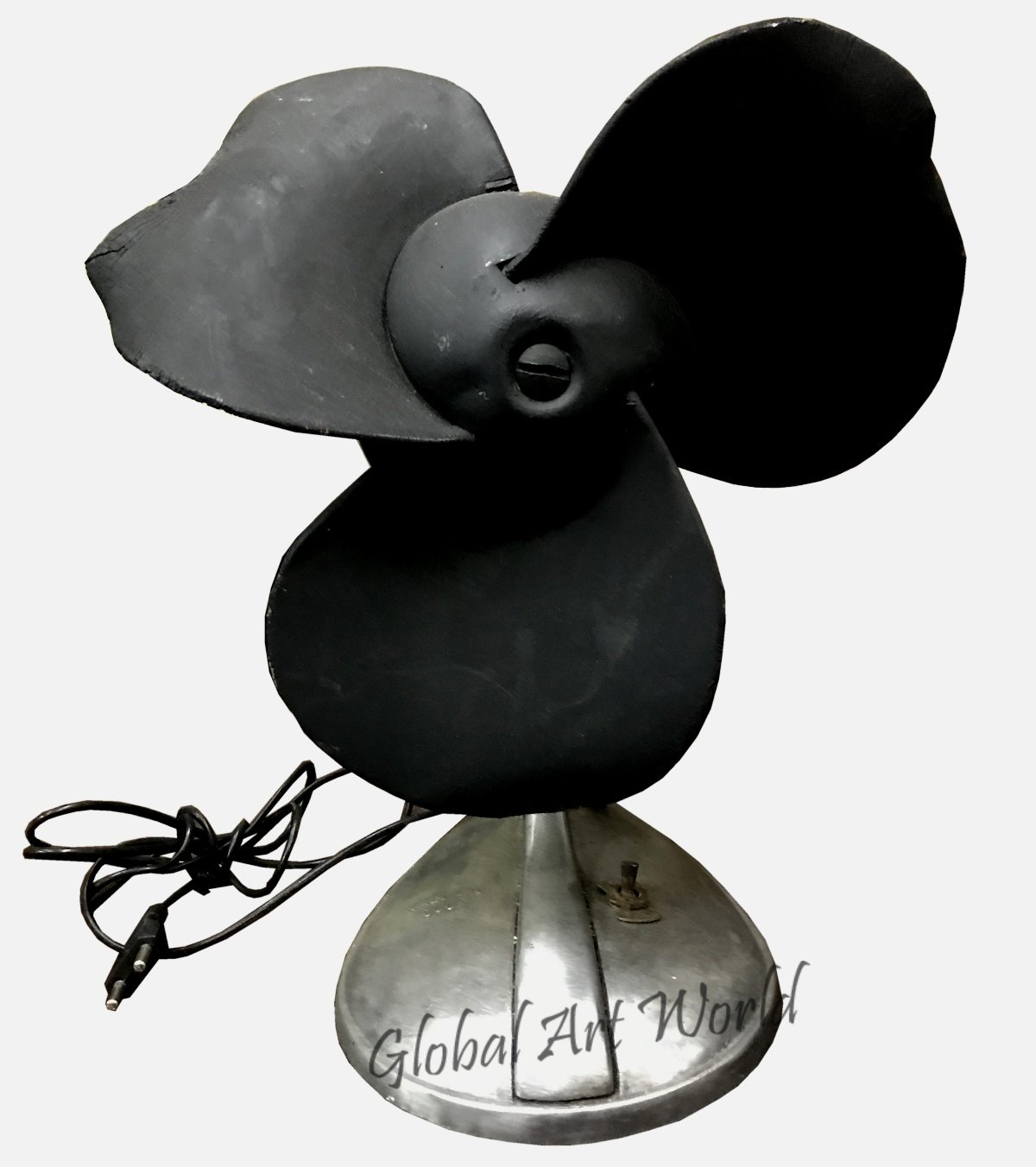 Global Art World Old Antique Electric Osolating Three Black Ship Blades Shaped Rare Vintage Table Top And Desk Electric Fans HB 0159