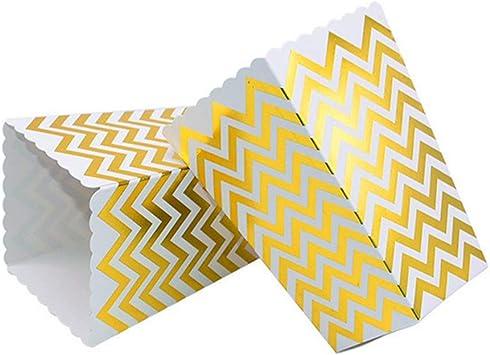 VAINECHAY 12PCS Cajas de palomitas Carton Maíz Caja Papel Pequeña Dulces Papas Fritas Fiesta Cumpleaños para Niños Caja Regalo Comida Bocadillos Titulares Contenedor Onda Dorada Oro Puntos: Amazon.es: Juguetes y juegos