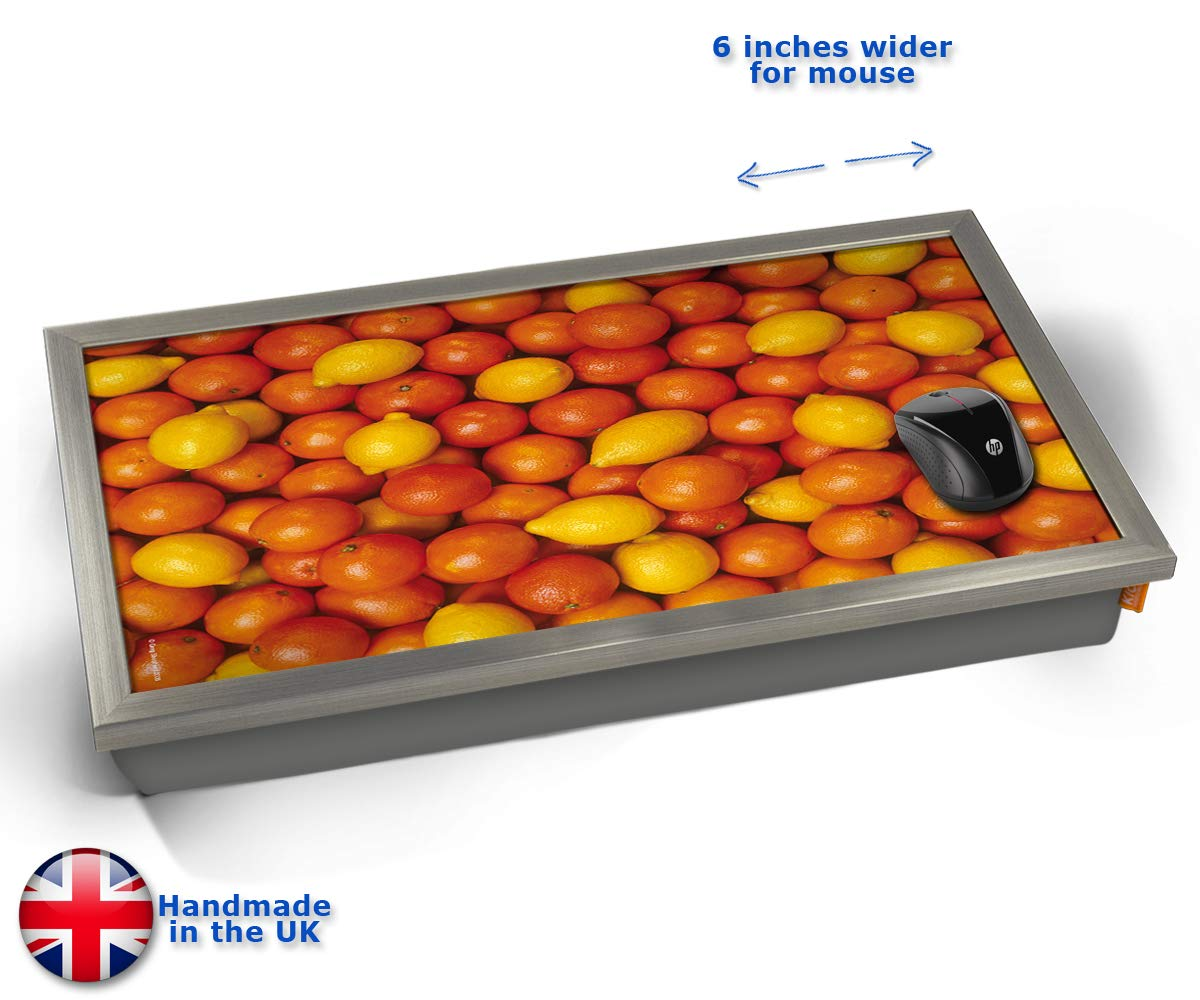 KICO Oranges and Lemons Fruit Cushioned Bean Bag Laptop Lap Tray Desk - Built-in EMF Shield (Electro Magnetic Field) - Chrome Effect Frame