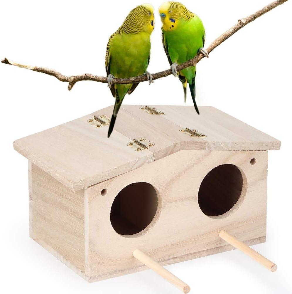 Casa para pájaros, nido de pájaros para mascotas de madera Caja de cría para la casa Jaula Accesorios para casas de pájaros para loros Golondrinas Casas para pájaros Kits de construcción exterior para