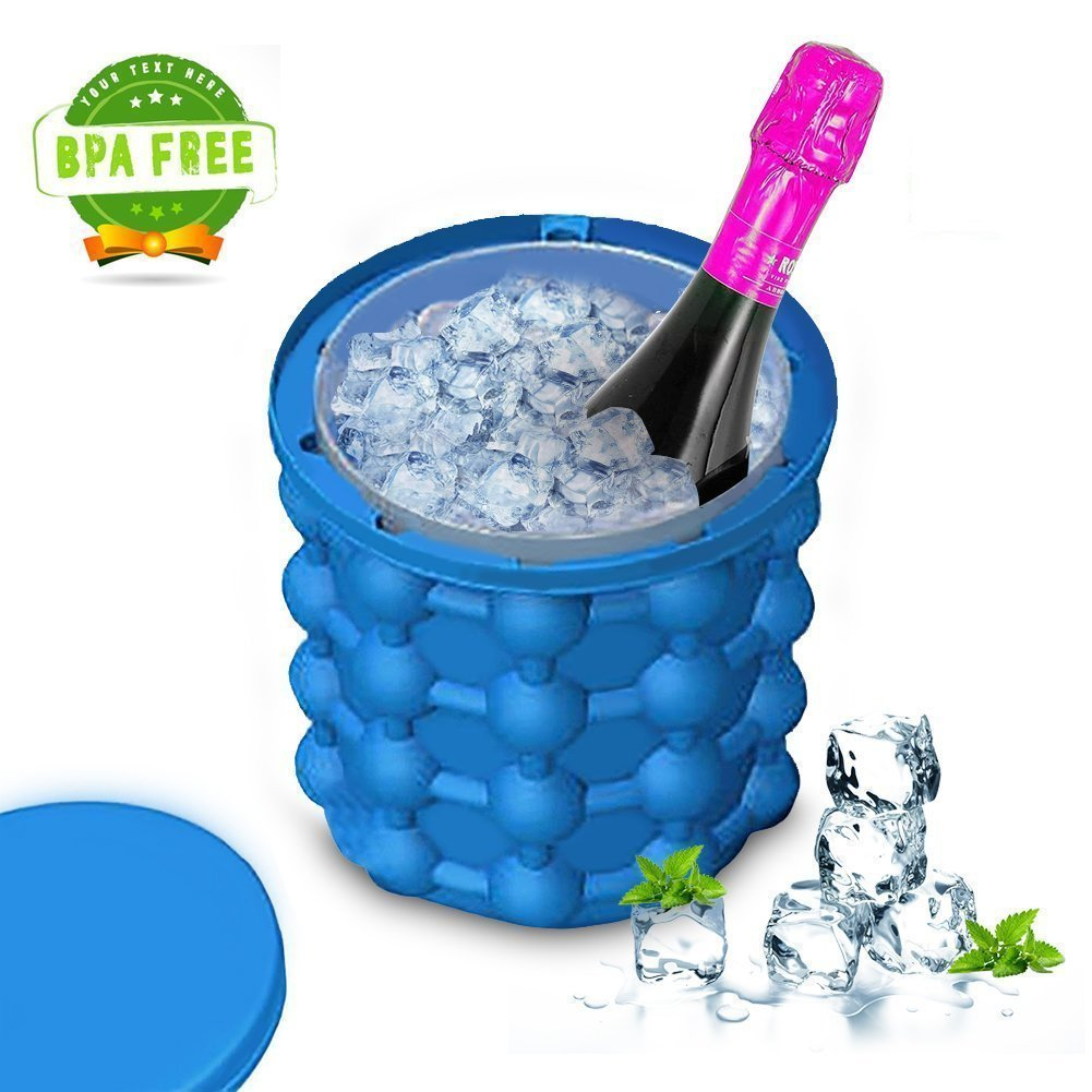 FQMY Ice Genie Ice Cube Maker - Leakproof Design Super Large Silicone 2 in 1 Ice Bucket and Ice Mold, Revolutionary Space Saving by FQMY