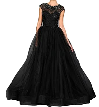 BanZhang Womens Crystals Organza Long Evening Dresses Formal Gowns Plus Size BZ306 Black 2