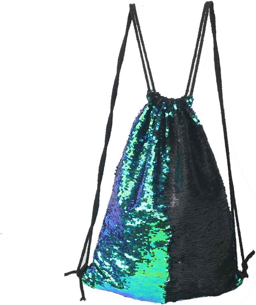 Tinksky Moda brillo bolsa Sackpack lentejuelas lazo mochila (verde)